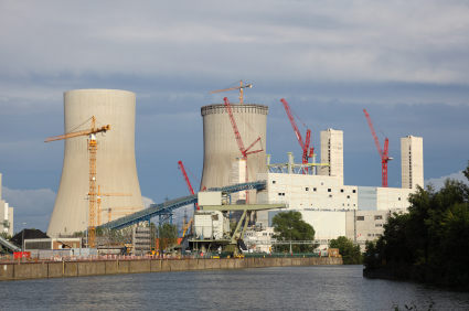 Nuclear power station on the river bank